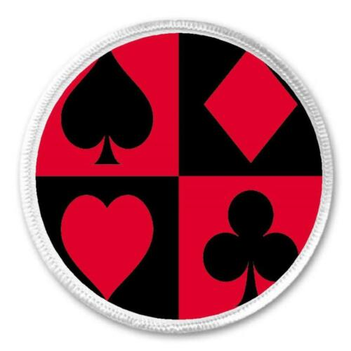 """Card Suits heart club spade diamond poker gift 3/"""" Circle Sew Iron On Patch"""