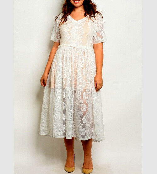 NEW Weiß Lace Empire Dress PLUS Größe 1X  Long Flare SWEET & SEXY Short Sleeved