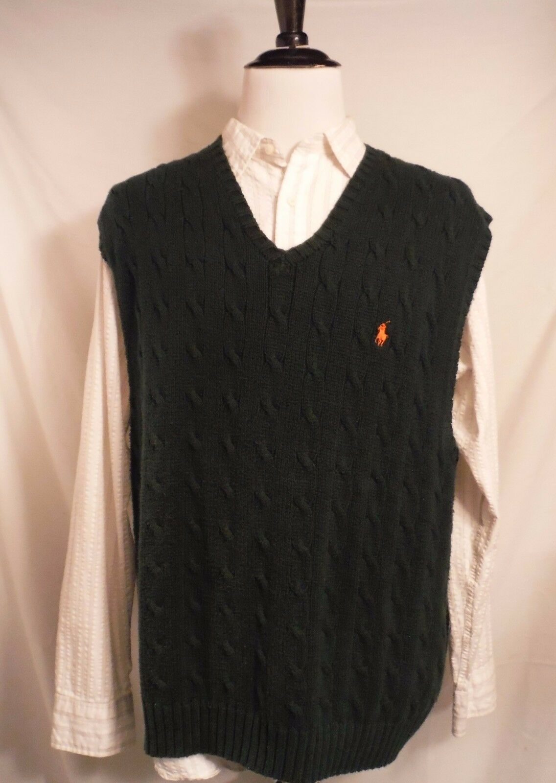 Ralph Lauren Mens Cable Knit Fisherman Forrest Green Cotton Sweater Vest Size XL