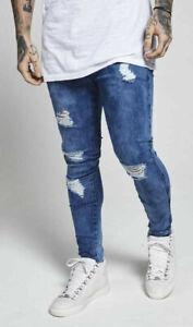 Sik-Seta-da-Uomo-Skinny-Stretch-ANGOSCIA-STRAPPATO-DISTRUTTO-Mid-Stonewash-blu-Jeans