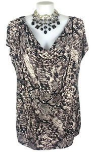 NWT-AUTOGRAPH-Top-Tshirt-Snakeskin-Print-Stretch-Jersey-Brown-Cream-Cowl-22