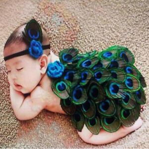 Newborn Baby Peacock Headband Knit Crochet Photography Costume Outfit Props