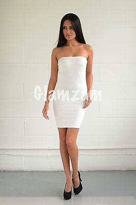 New Womens Ladies Strapless Celeb white Bodycon sexy Boobtube Party Mini Dress
