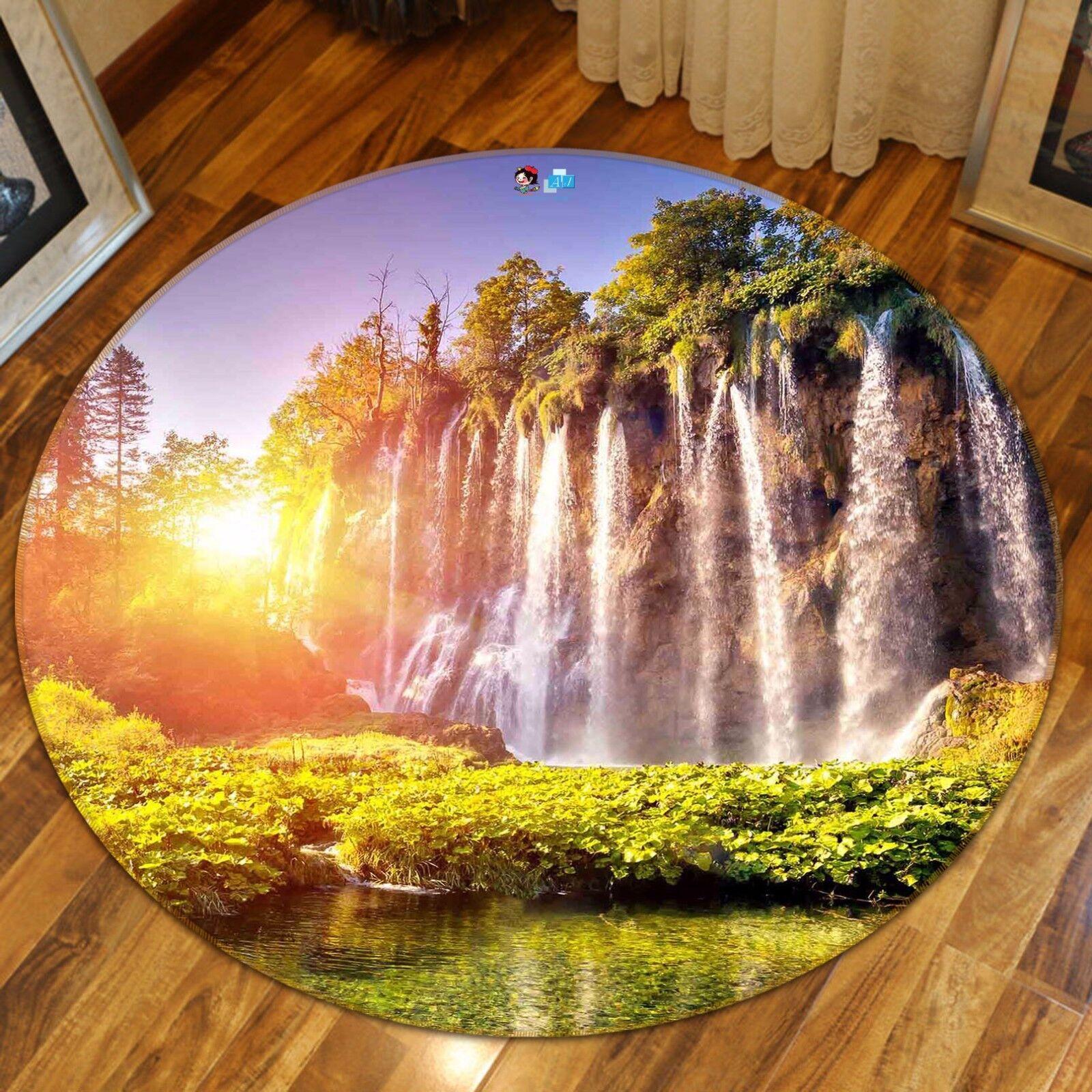 3D Cliff Falls 5 Non Slip Rug Mat Room Mat Round Quality Elegant Photo Carpet CA