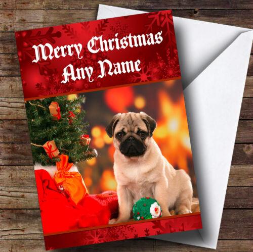 Christmas Pug Personalised Christmas Greetings Card