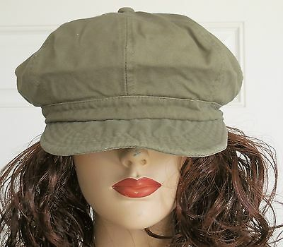 Newsboy Cabbie Hat Washed Cotton Women's Trendy Fashion Cap Olive Green S/M