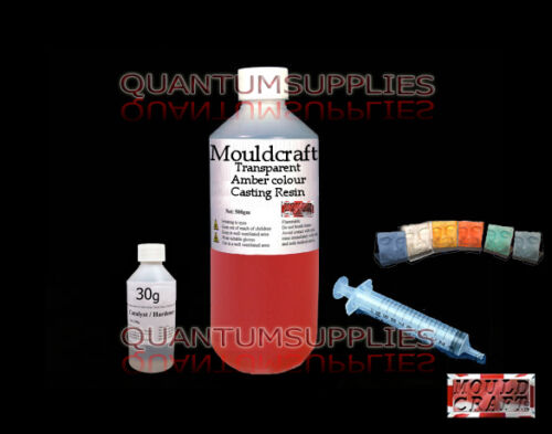 1kg MOULDCRAFT TRANSPARENT AMBER COLOUR CASTING RESIN USE KIT WITH JEWELLERY