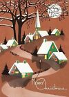 Snow Topped Houses Beneath the Moon Christmas Greeting Cards by Laughing Elephant (Mixed media product, 2012)
