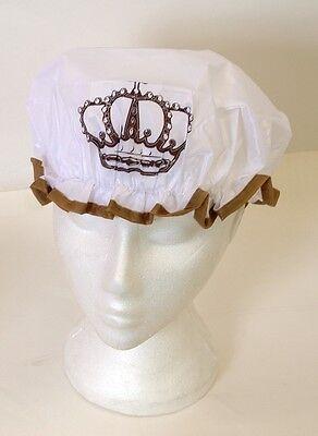 Royal Queen Crown Logo Shower Cap Novelty Design Waterproof Bath Bathroom Hat