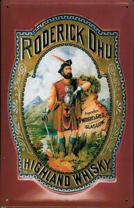 Roderick-Dhu-Whisky-Highlander-Blechschild-Schild-3D-gepraegt-Tin-Sign-20-x-30-cm