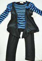 Girls Bobbie Brooks 2 Piece Set Size Xs 4-5 Pants & Top Blue & Black Brand