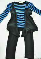 Girls Bobbie Brooks 2 Piece Set Size Xs 4-5 Pants & Top Blue & Black Brand