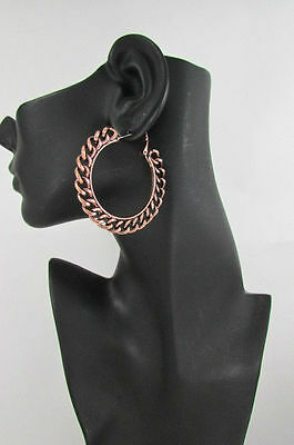 Women Big Chunky Hoops Thick Bronze Copper Metal Chains Links Fashion Earrings