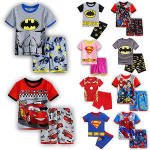 Kids-Boy-Girl-Cartoon-Superhero-2Pcs-Outfits-T-Shirt-Shorts-Pajamas-Sets-Costume