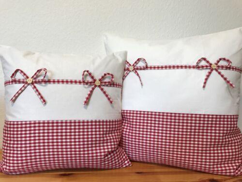 taie d/'oreiller Rouge//waiß à carreaux 40x40cm. 1 Style Maison De Campagne Coussin housse