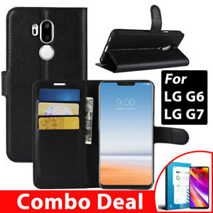 LG-G6-G7-ThinQ-Wallet-Case-Cover-Wallet-Flip-Leather-Glass-Screen-Protecor