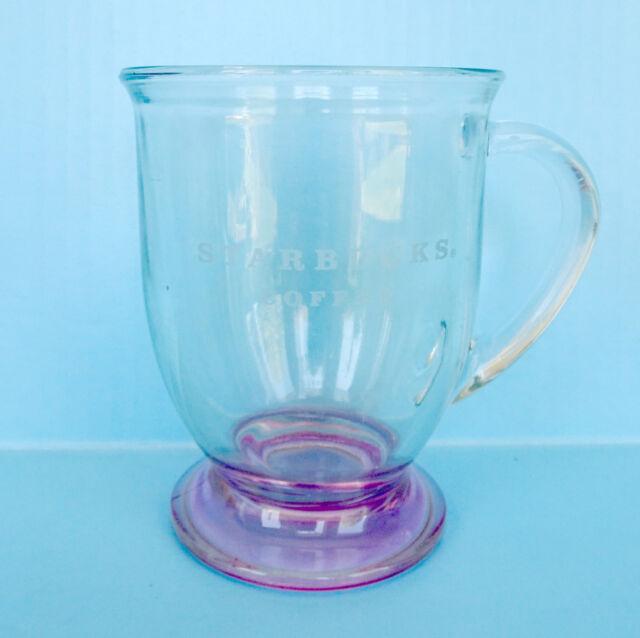 Pink Pedestal Starbucks Coffee Tea Mug Anchor Hocking Footed Etched 16 oz