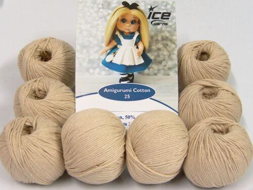 50/% Cotton Lot of 8 Skeins Ice Yarns AMIGURUMI COTTON 25 Yarn Beige