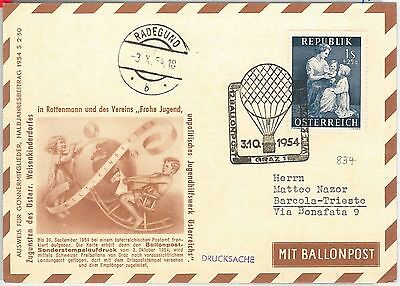56585 - Aviation Baloons - Austria - Postal History: Special Flight Card 1954