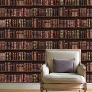 Antique-Bibliotheque-Papier-Peint-Rouleaux-or-Brun-575208-Cuir-Livres