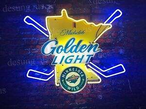 Michelob Golden Light Minnesota Wild Hockey Nhl Neon Sign
