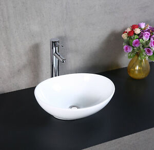 Counter Top Ceramic White Oval Basin
