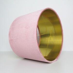 Abat-jour-rose-blush-velours-or-brosse-Doublure-Lightshade-Metallique