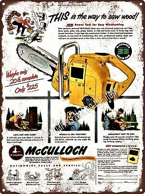 Mc Culloch Chain Saws metal tin sign living room design
