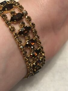 1950s-Vintage-Link-Bracelet-Amber-Coloured-Glass-Faux-Citrine-Jewellery-Jewelry