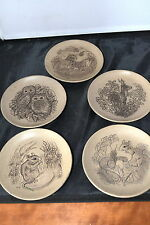 SET OF FIVE  BARBARA LINLEY POOLE WILDLIFE PLATES/ OWLS , MOUSE , DEER ETC #D