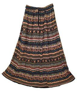 Indian-Print-Long-Skirt-Size-Free-Elastic-Waist-Maxi-Usa-Boho-Broomstick-Women