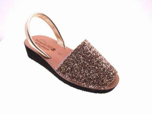 Avarcas Glitzer Spanische Sandalen Keilabsatz Damen Größe Gr 36 37 38 39 40 41