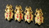 4 Scarab Buttons Gold Metal Red Enamel Accents Scarab Buttons Measure 15/16
