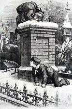 Thomas Nast BOYS SPYING on SANTA CLAUS 1876 CHRISTMAS CHIMNEY Matted Engraving