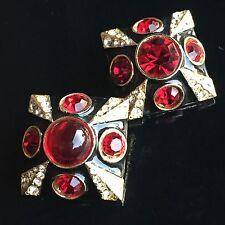 Vtg CRISTIAN DIOR Gold Red Black Enamel Rhinestone Runway Earrings Designer -30
