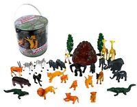 Wild Animal Safari Action Figures - Big Bucket Of Jungle Safari Animals -30 Pcs