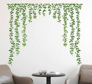 69000117   Wall Stickers Living Room Green Falling with Pretty Flowers