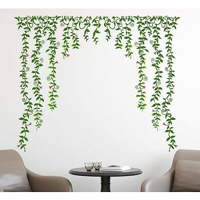 69000117 | Wall Stickers Living Room Green Falling with Pretty Flowers