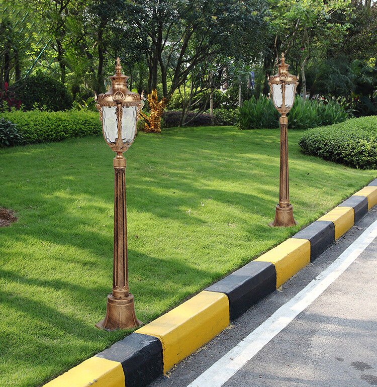 European Style Glass Metal Lantern Pillar Lights negro Brass Lawn Light 85 115cm
