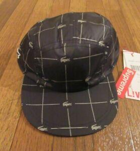 08cb0e8a Supreme Lacoste Reflective Grid Nylon Camp Cap Hat Black Strapback ...
