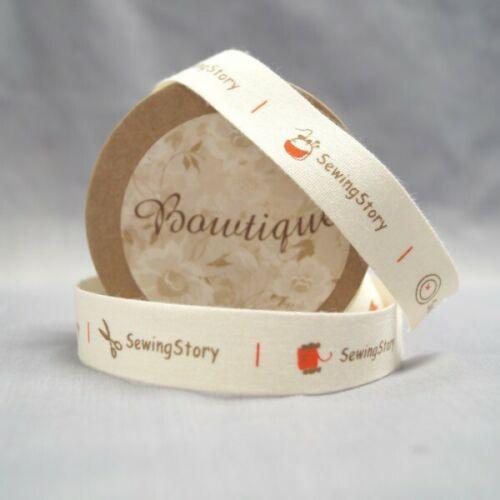 Bowtique coton naturel histoire de couture ruban 15mm x 5m Bobine