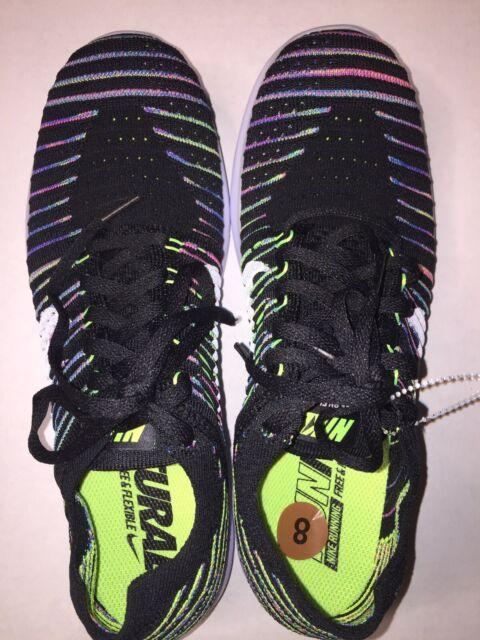 New Nike Free RN Flyknit Women's Shoes Size 8 BlackWhite Volt Blue Lagoon