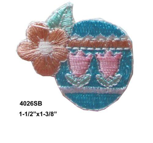 "#4026SB 1-1//2/"" Blue Easter Eggs w//Orange Flower Embroidery Appliqué Patch"