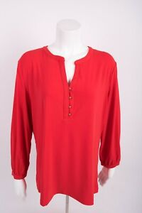 New-York-amp-Company-Women-039-s-Blouse-Shirt-XL-Orange-Gold-Buttons-Career
