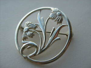 Vintage-Past-Times-Sterling-Silver-Flower-Brooch-Brooch
