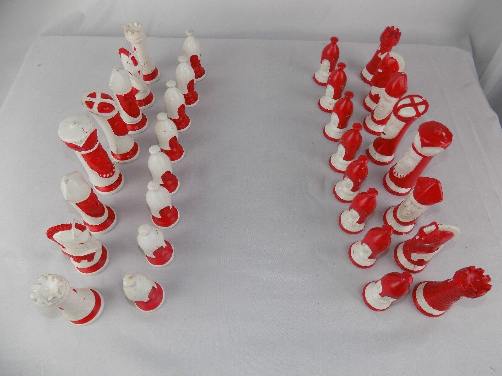Duncan Chess Set Vintage Années  1960 Porcelaine 32 Pièces Céramique Rouge & Blanc  meilleurs prix et styles les plus frais
