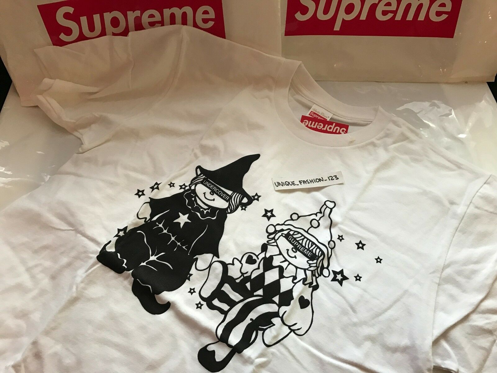 SUPREME X UNDERCOVER DOLLS TEE L Weiß BOX LOGO LARGE FW16 T-SHIRT LIMITED