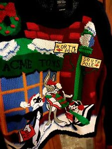 Ugly Christmas Sweater Cartoon.Details About Warner Bros Looney Ugly Christmas Sweater Men Women L Xl Bugs Syl Pepe Cartoons