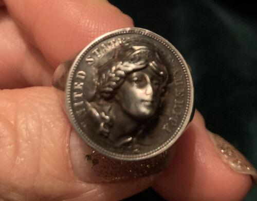Antique original pop-out Liberty dime ring - 1912