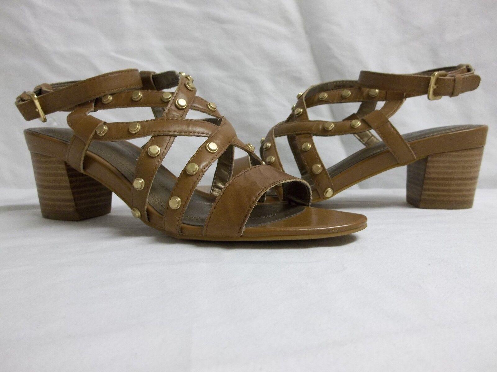 Tahari Sz 8 M Kennedy Butterscotch Leather Open Toe Heels New Womens shoes NWOB